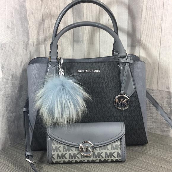 Michael Kors Handbags - 3pcs Kimberly Satchel & Fulton Wallet & Charm Fur